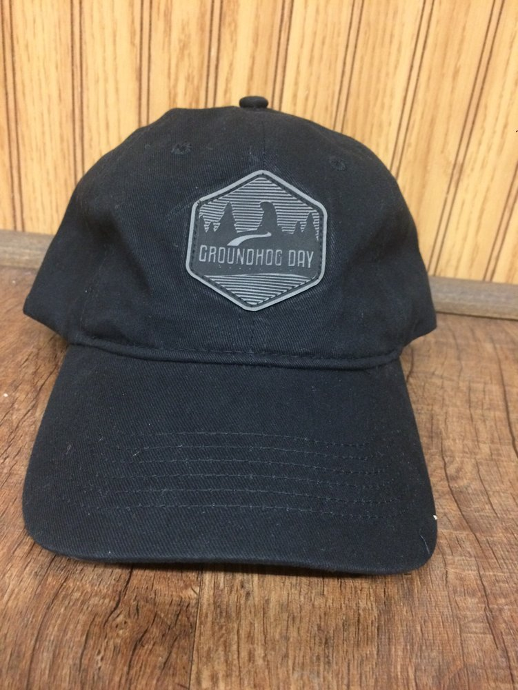 Gobbler's Knob Black Hat with leather patch Image a