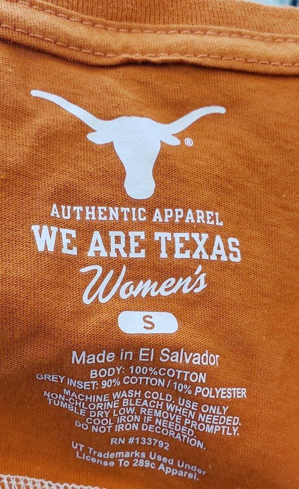 UT Longhorns Texas Womens Striped Shoulder Tshirt Icon Orange Image a