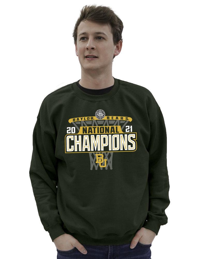 Baylor Bears National Basketball Championship Crewneck Sweatshirt 2021 Hoop Image a