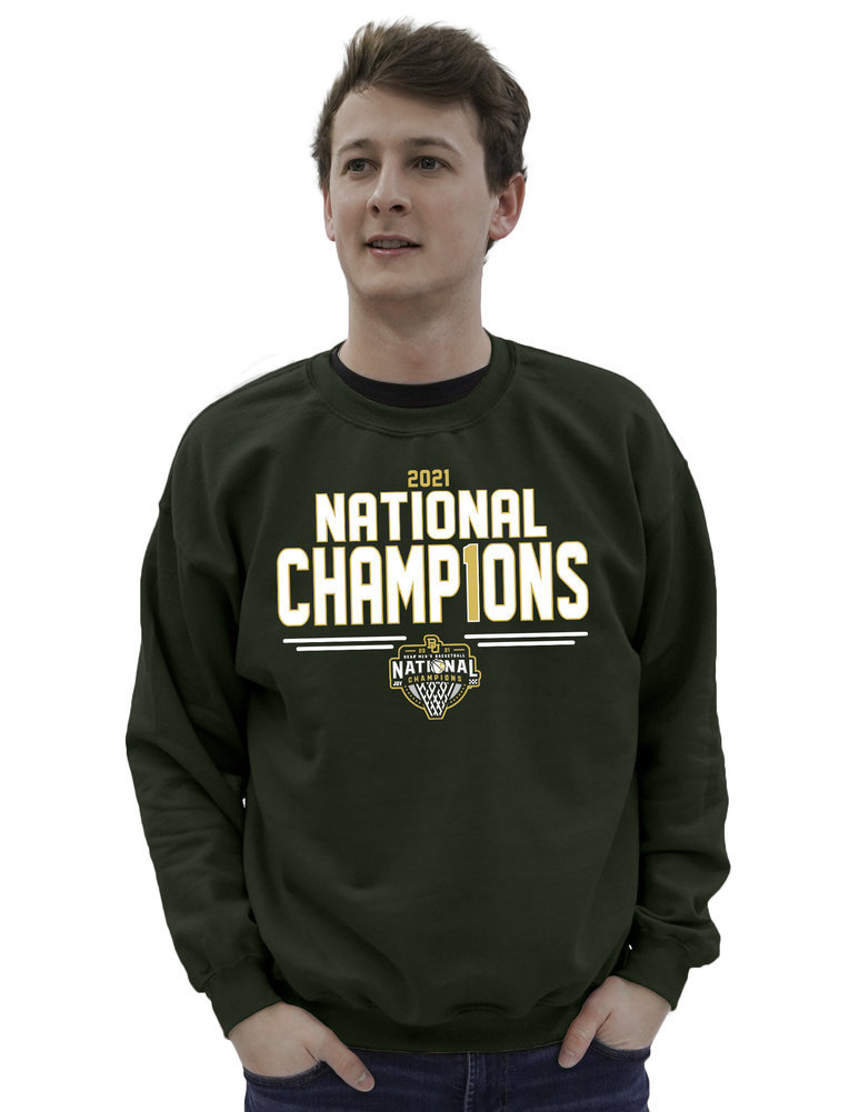 Baylor Bears National Basketball Championship Crewneck Sweatshirt 2021 Number 1 Image a