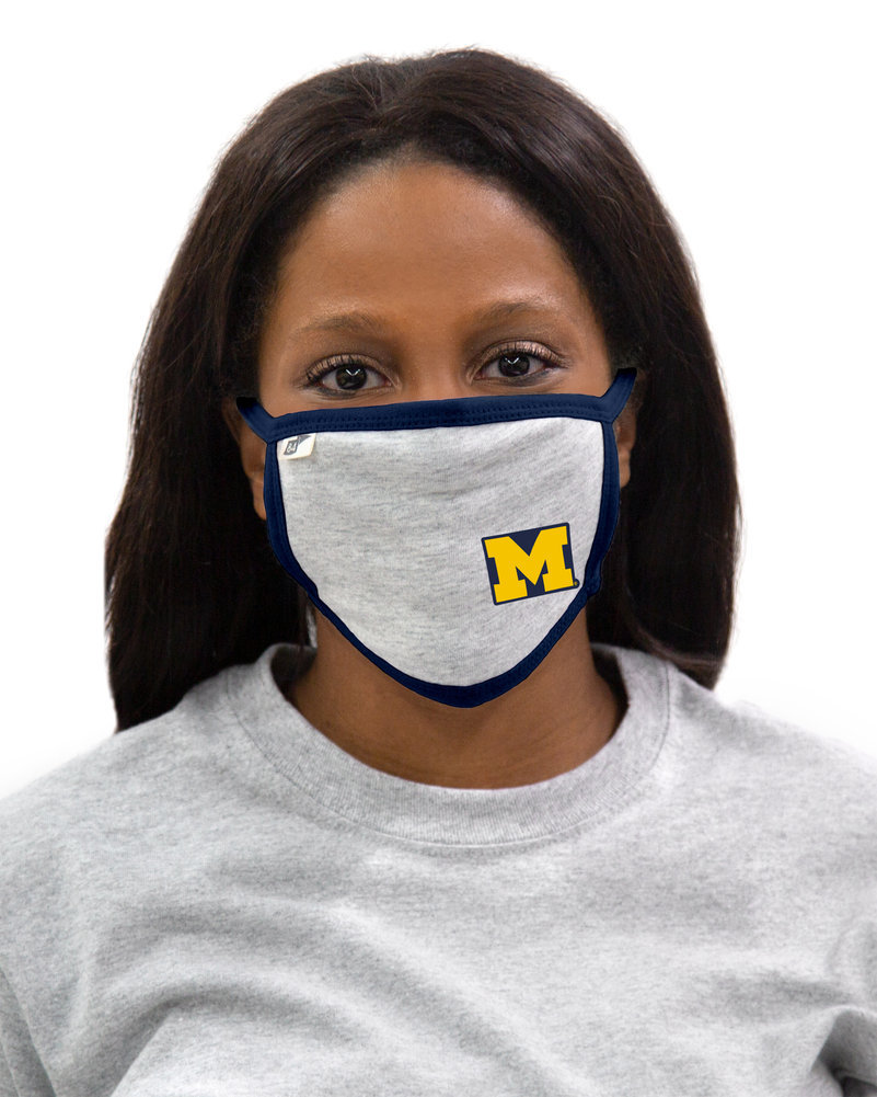 Michigan Wolverines Face Covering Gray Image a