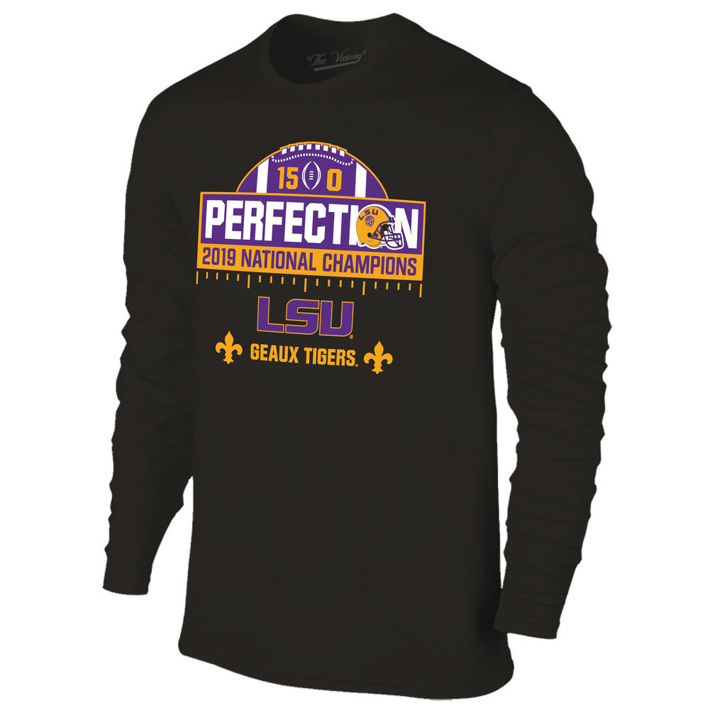 LSU Tigers National Championship Champs Perfection Long Sleeve Tshirt 2019 - 2020 Schedule Black Image a