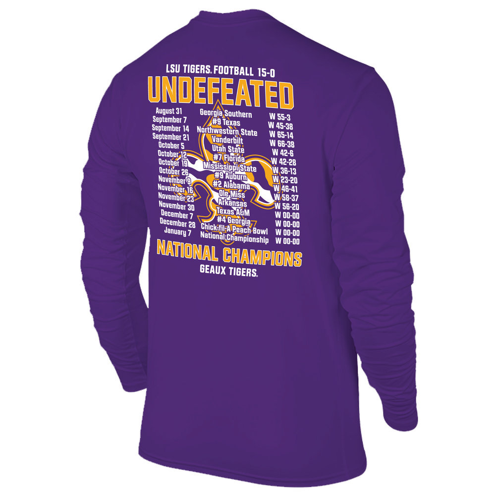 LSU Tigers National Championship Champs Perfection Long Sleeve Tshirt 2019 - 2020 Schedule Purple Image a