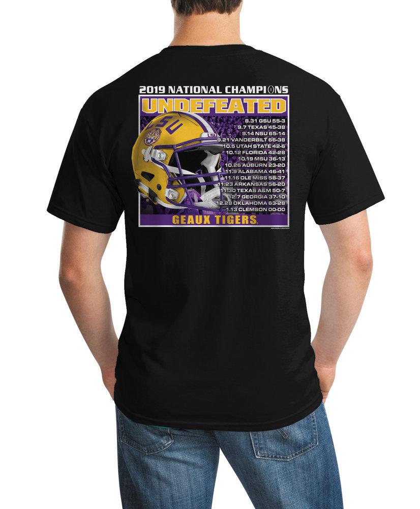 LSU Tigers National Championship Champs Tshirt 2019 - 2020 Recap Black Image a