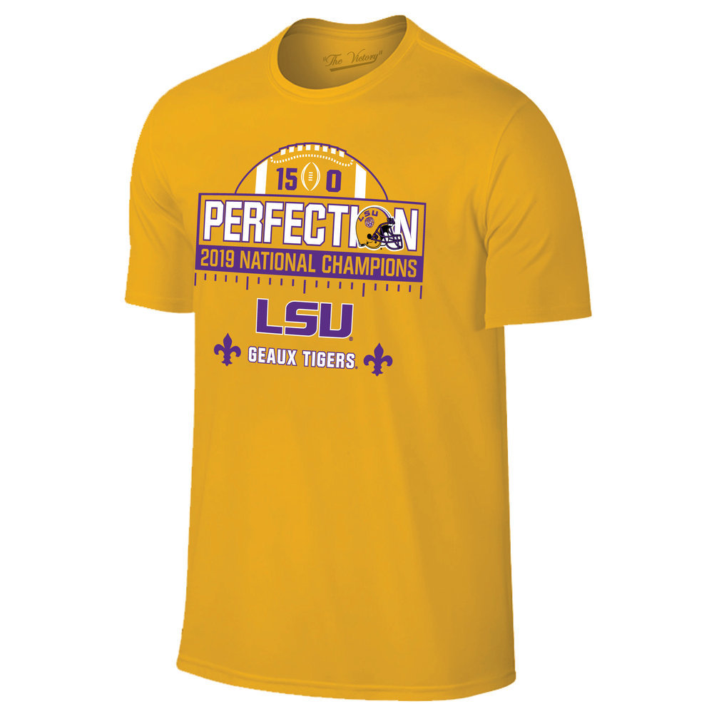 LSU Tigers National Championship Champs Perfection Tshirt 2019 - 2020 Schedule Gold Image a