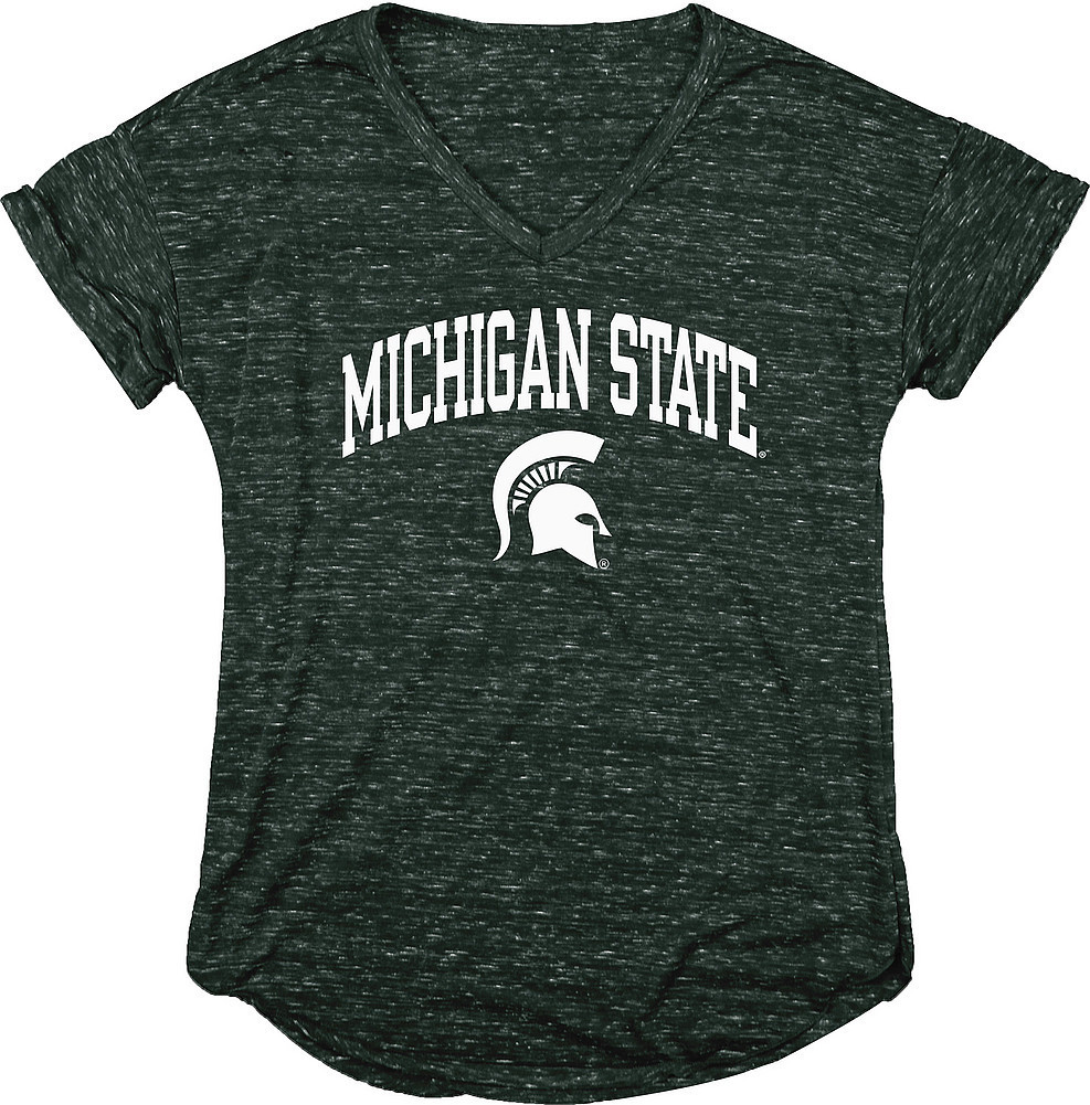 Michigan State Spartans Womens Vneck TShirt Green Image a
