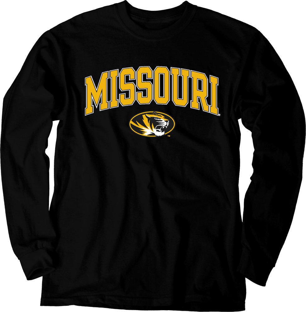 Missouri Tigers Long Sleeve Tshirt Varsity Black Arch Over Shirt Image a