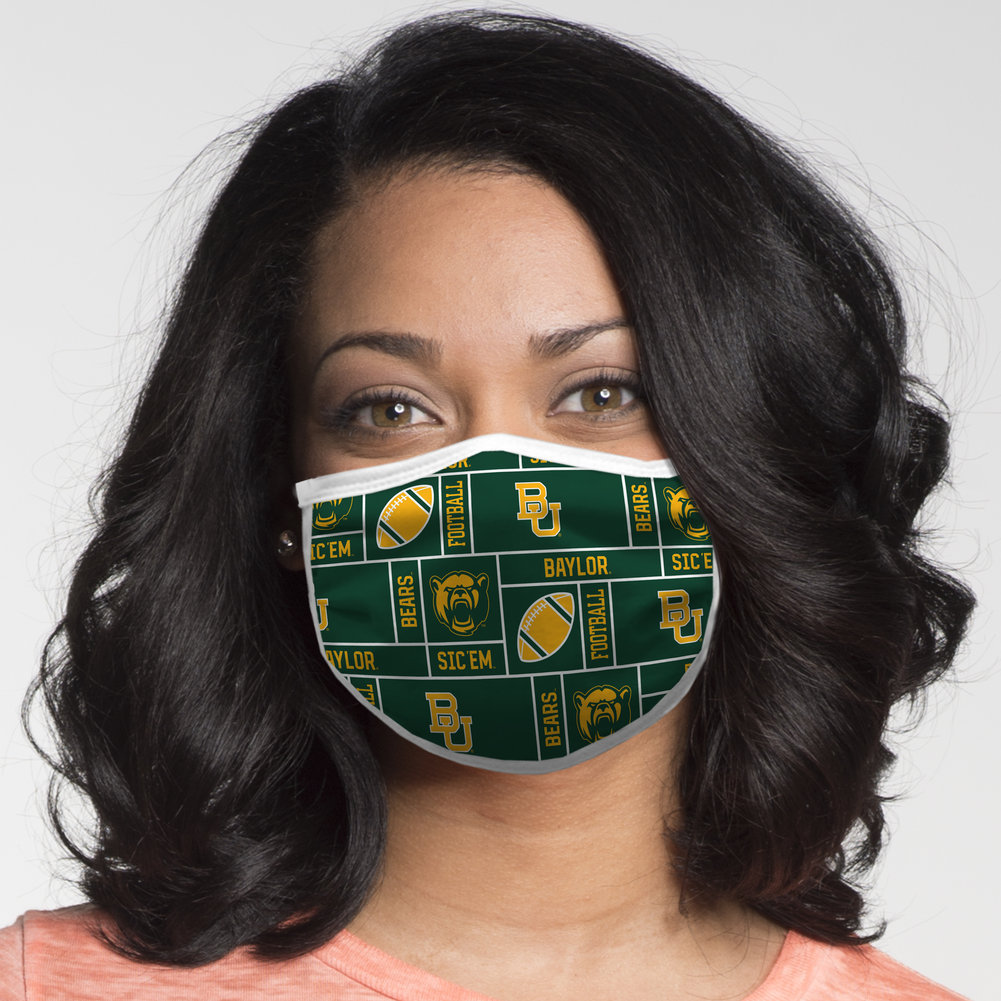 Baylor Bears Retro Face Covering 3-Pack Football Image a