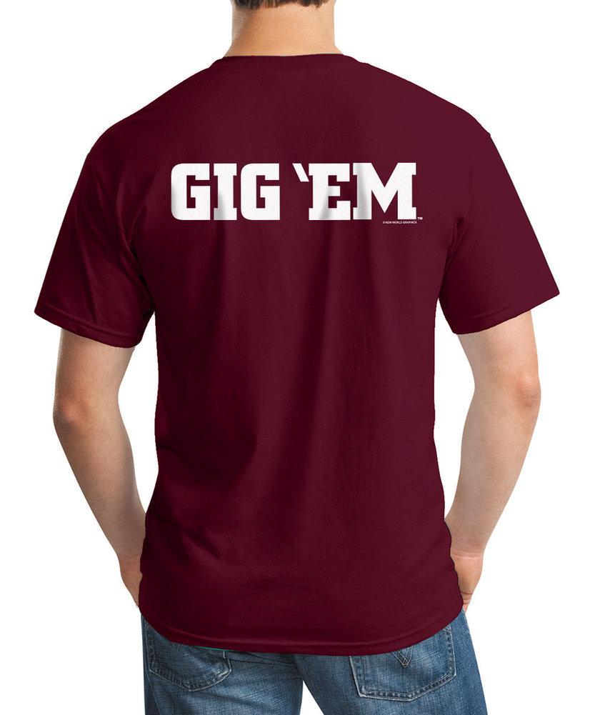 Texas A&M Aggies Tshirt Maroon Gig 'Em Image a
