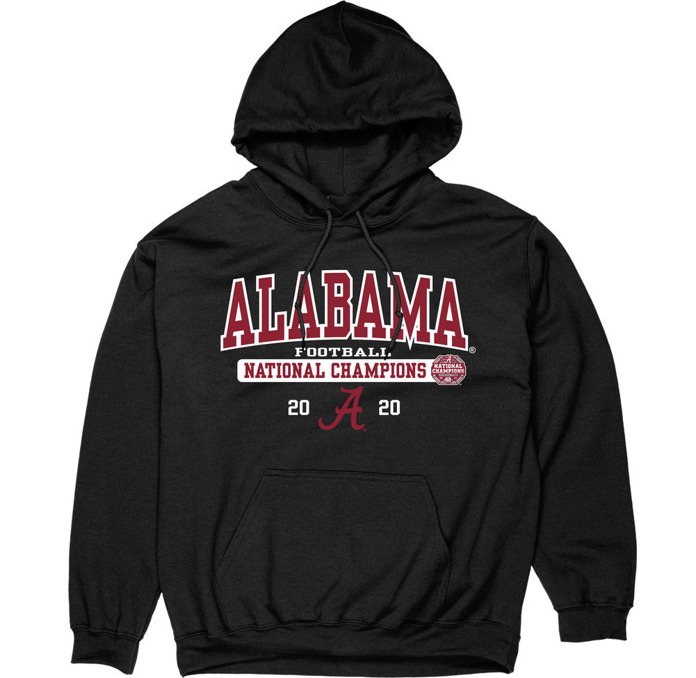 Alabama Crimson Tide National Champs Hoodie 2020-2021 Bold Black Image a
