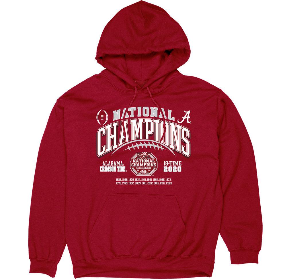 Alabama Crimson Tide National Champs Hoodie 2020-2021 Laces Image a