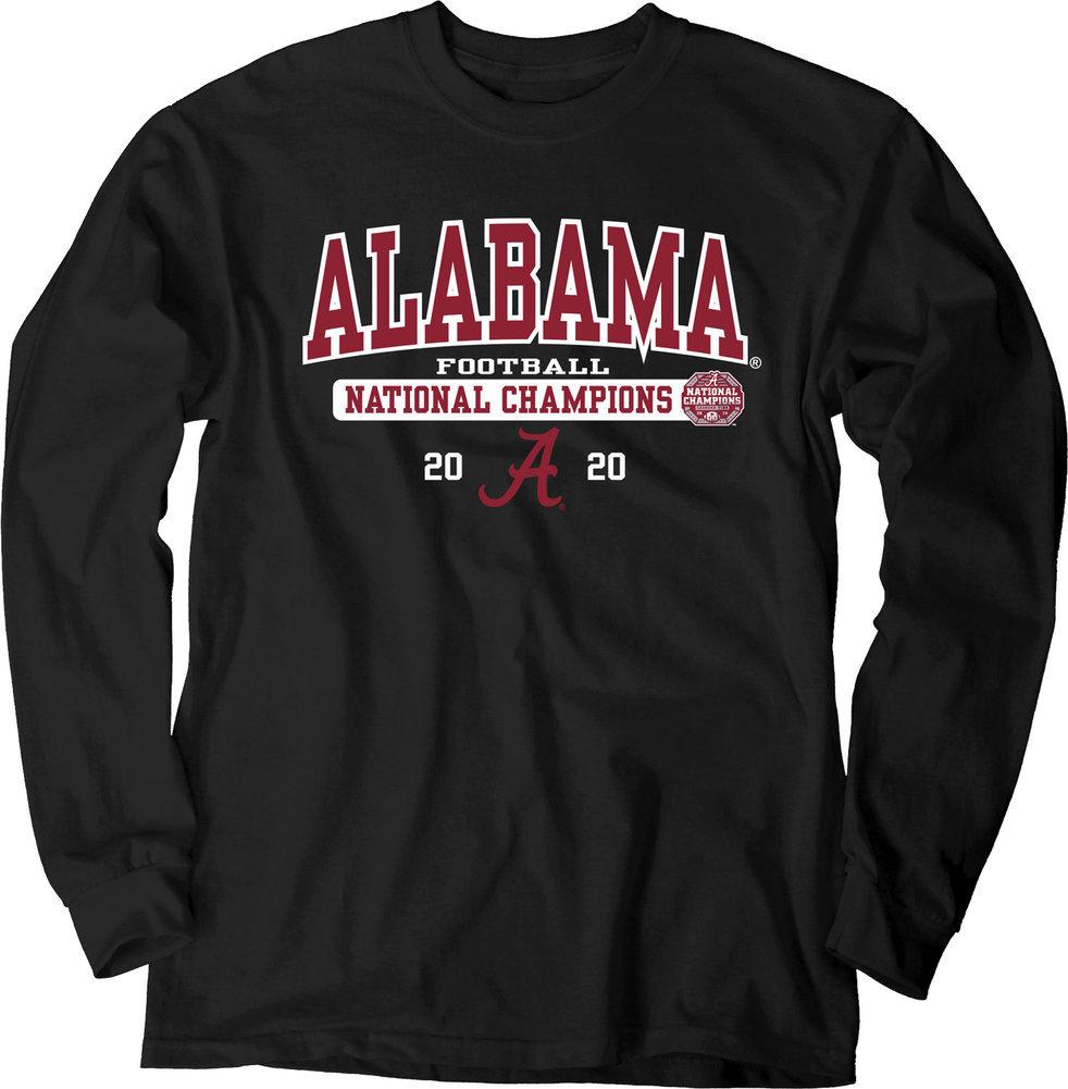 Alabama Crimson Tide National Champs Long Sleeve T Shirt 2020-2021 Bold Black Image a