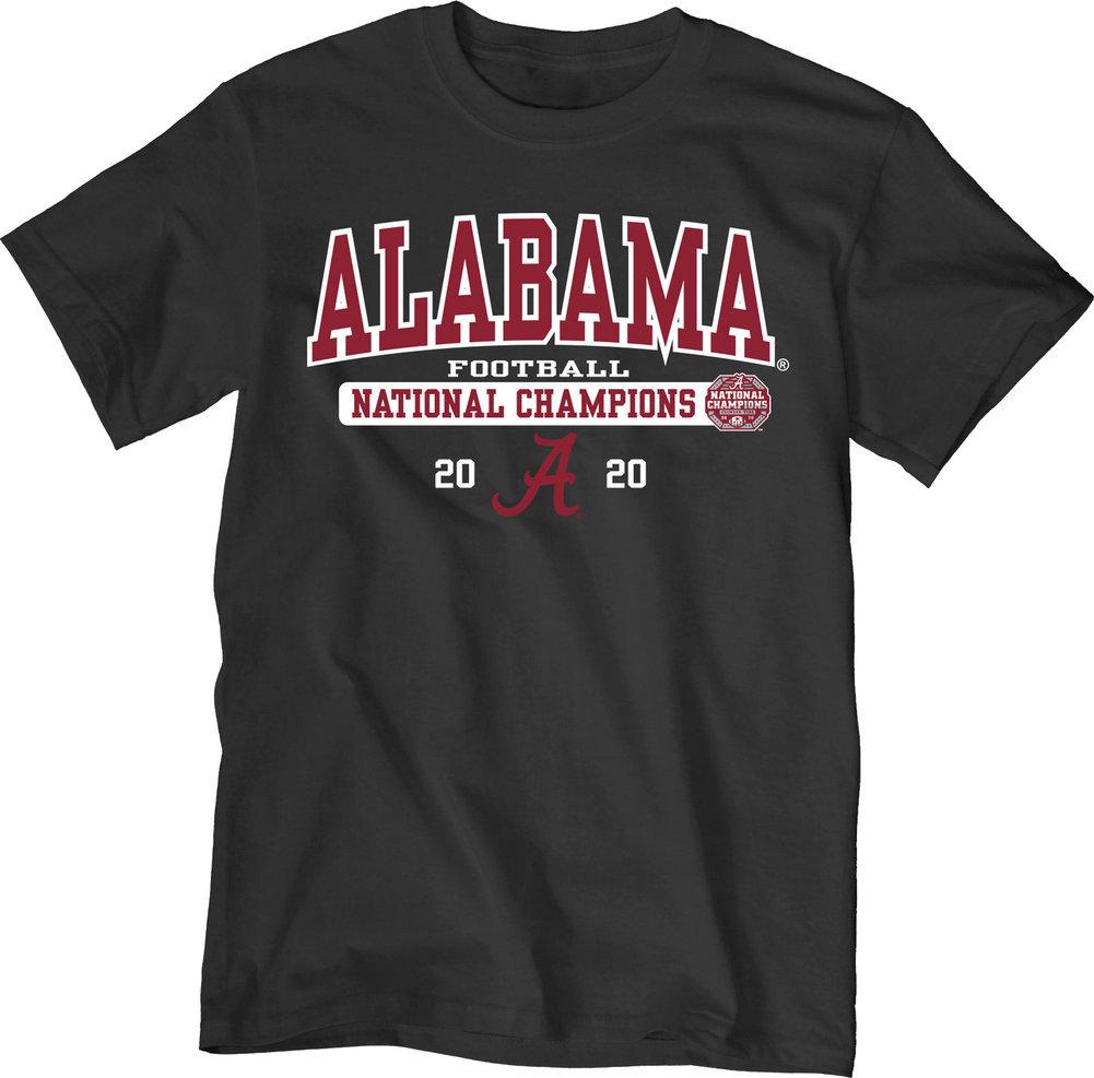 Alabama Crimson Tide National Champs T Shirt 2020-2021 Bold Black Image a
