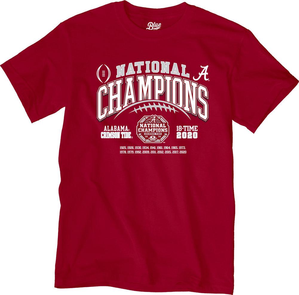 Alabama Crimson Tide National Champs T Shirt 2020-2021 Laces Image a