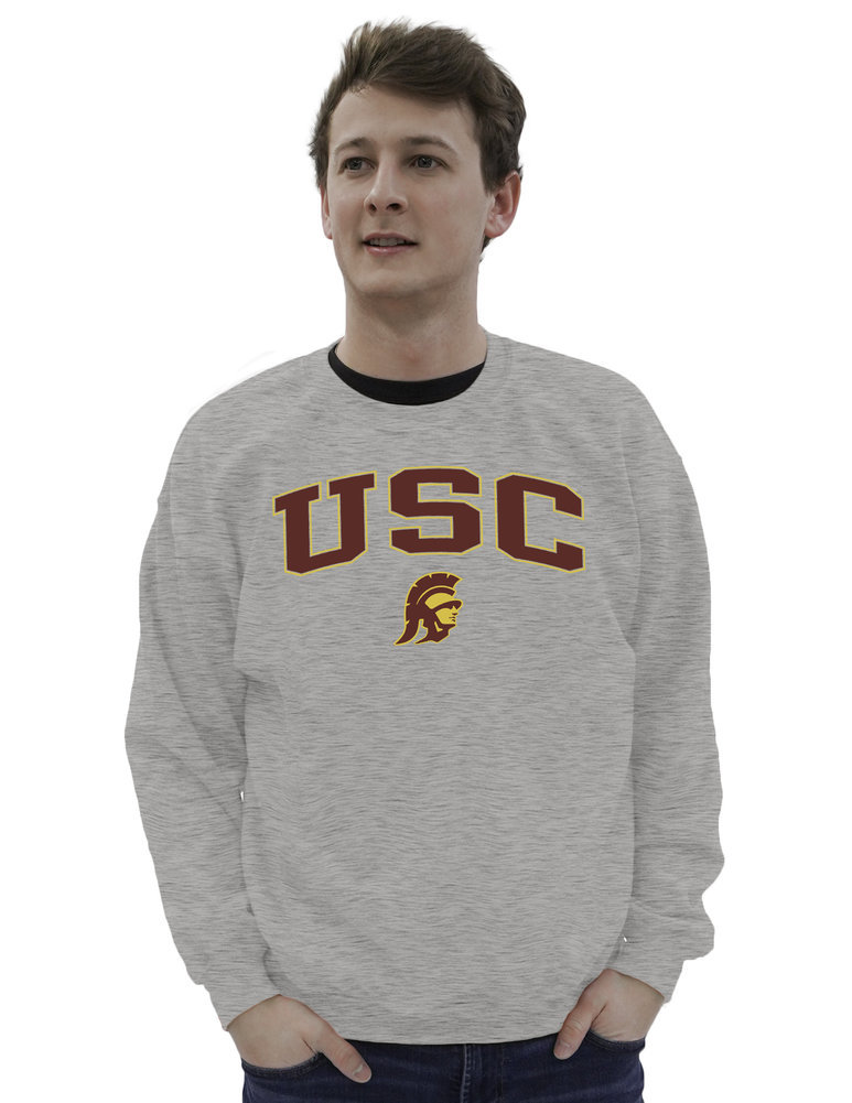 USC Trojans Crewneck Sweatshirt Varsity Charcoal Arch Over  Image a