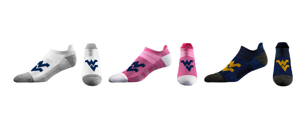 West Virginia Mountaineers Women's No Show Socks 3-Pack Image a