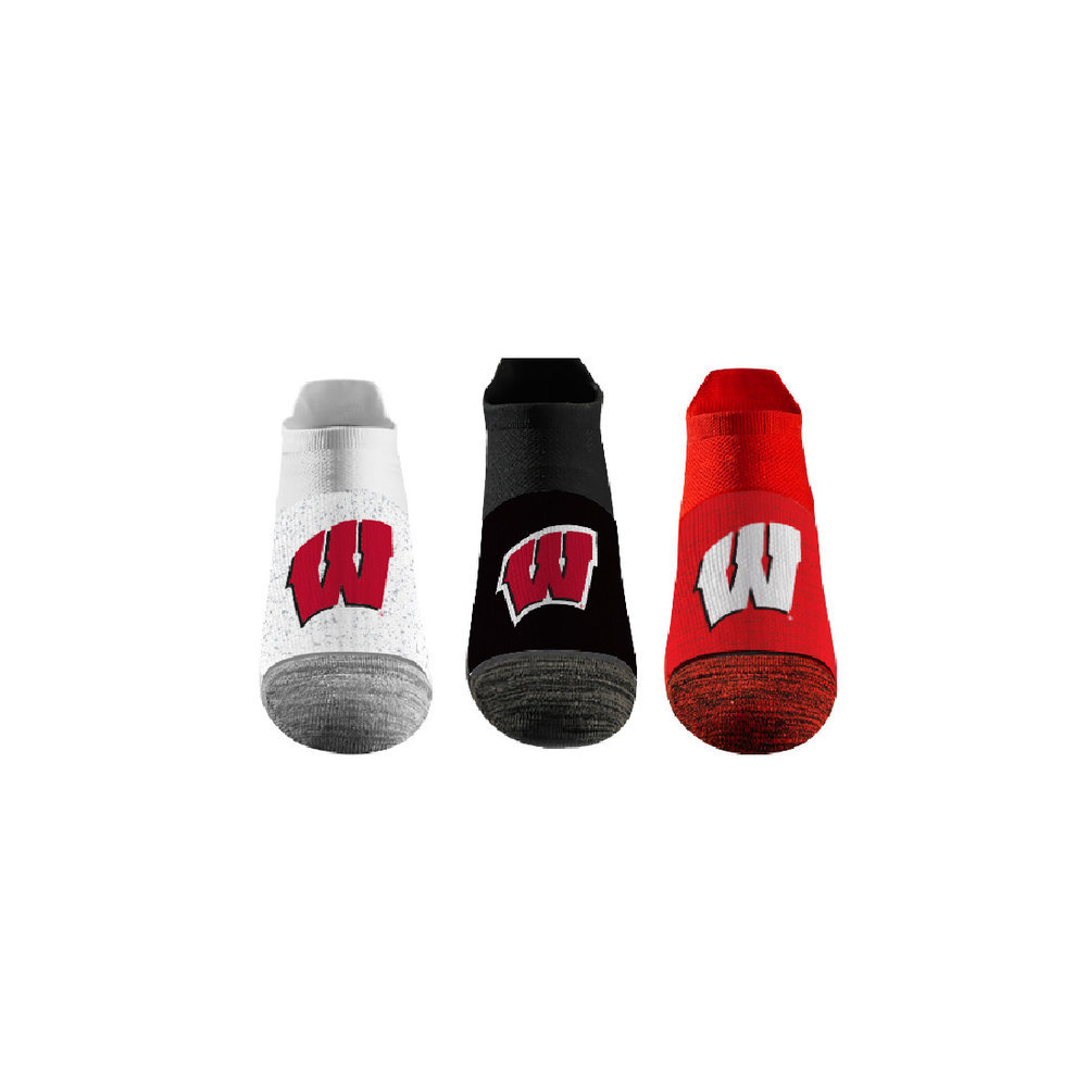 Wisconsin Badgers No Show Socks 3-Pack Image a