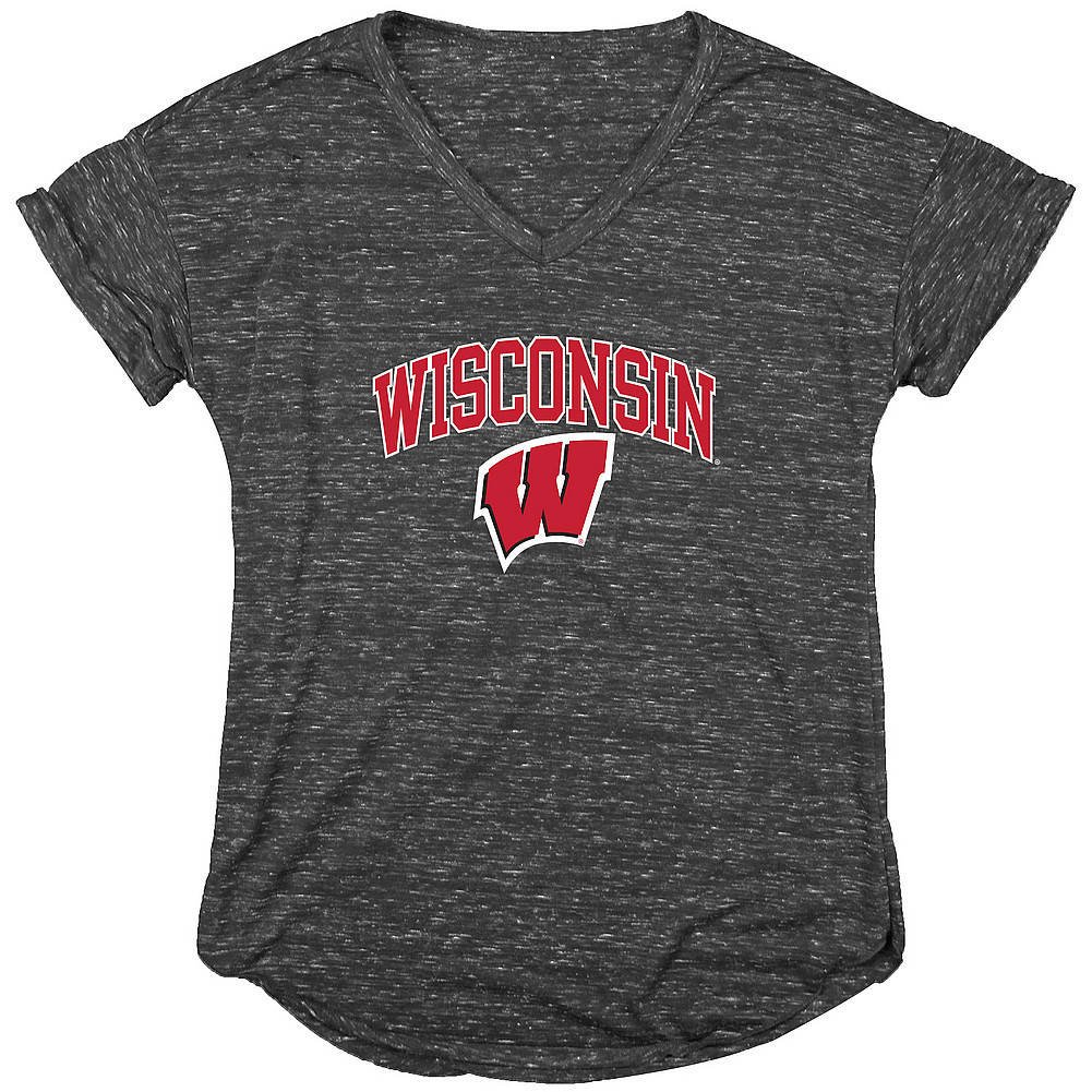 Wisconsin Badgers Womens Vneck TShirt Charcoal Image a