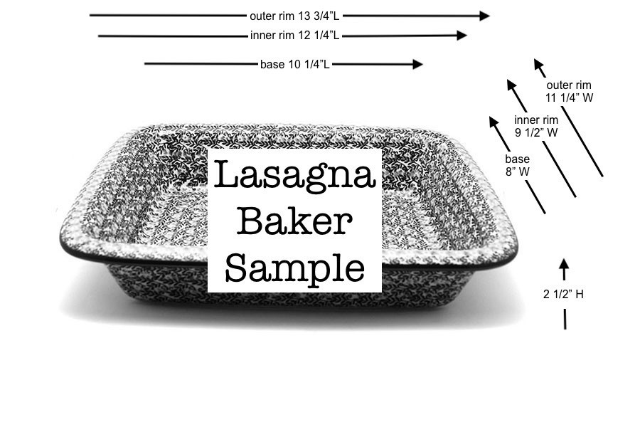 Polish Pottery Baker - Lasagna - Blue Poppy Image a