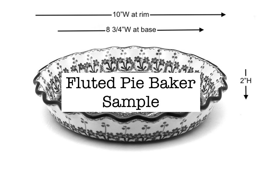 Polish Pottery Baker - Pie Dish - Fluted - Maraschino Image a