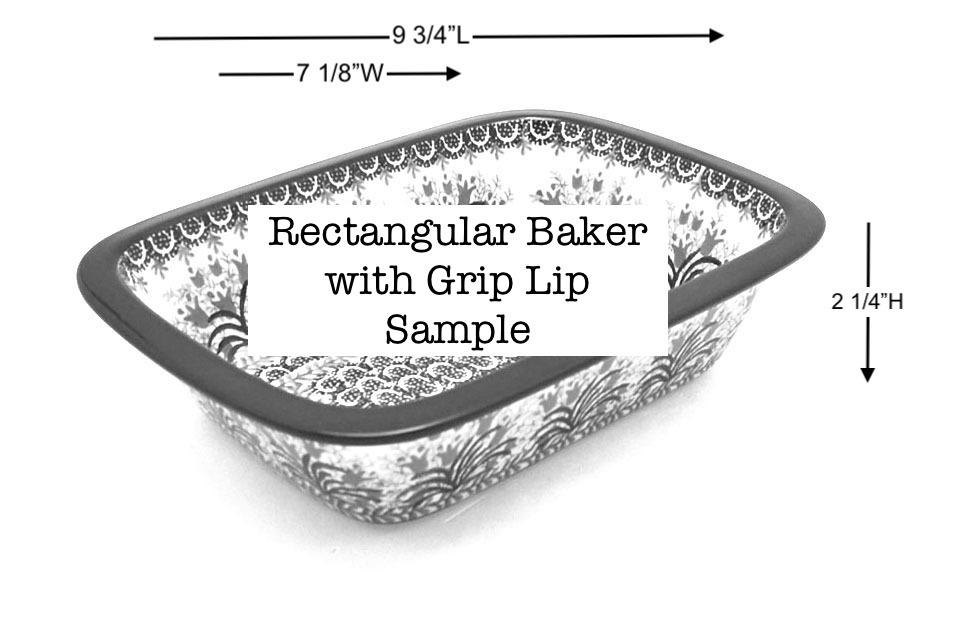Polish Pottery Baker - Rectangular with Grip Lip - Burgundy Berry Green Image a