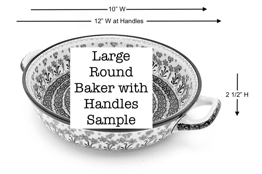 Polish Pottery Baker - Round with Handles - Large - Blue Bells Image a