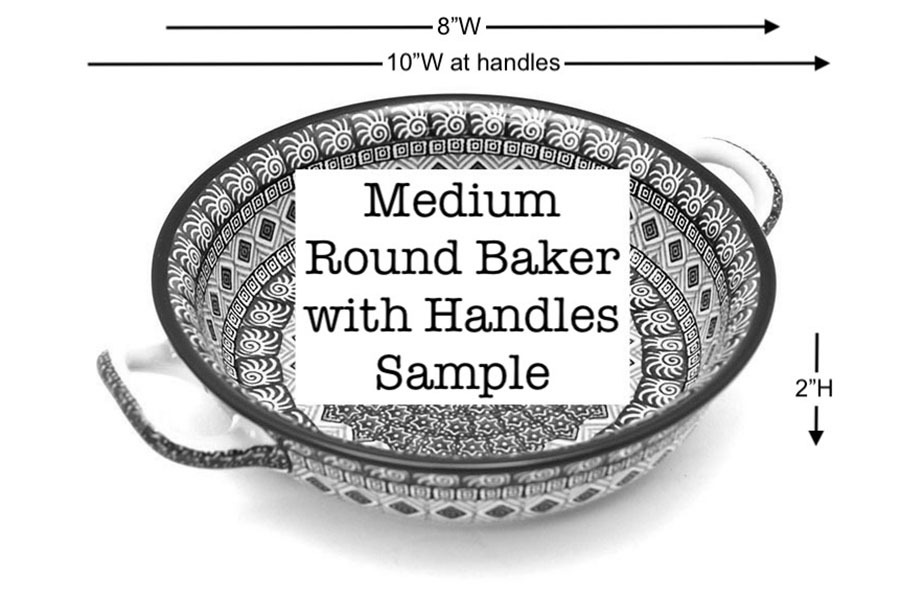 Polish Pottery Baker - Round with Handles - Medium - Maraschino Image a