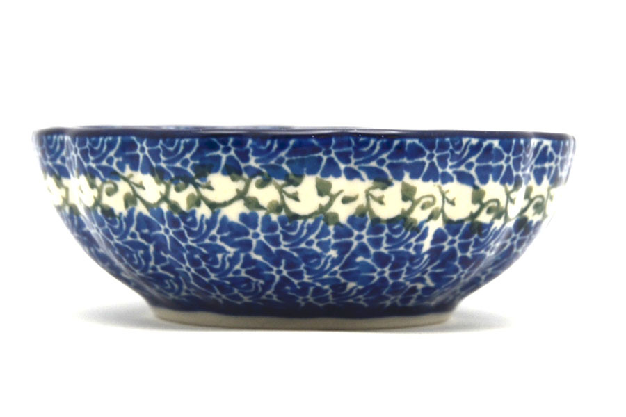 Polish Pottery Bowl - Shallow Scalloped - Small - Antique Rose Image a