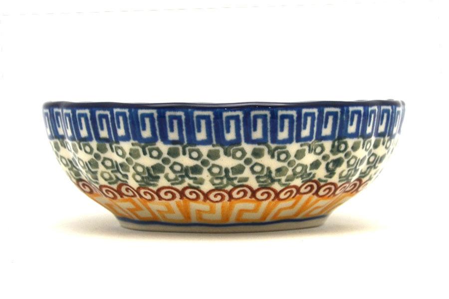 Polish Pottery Bowl - Shallow Scalloped - Small - Autumn Image a