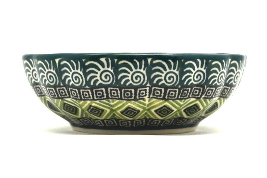 Polish Pottery Bowl - Shallow Scalloped - Small - Aztec Forest Image a