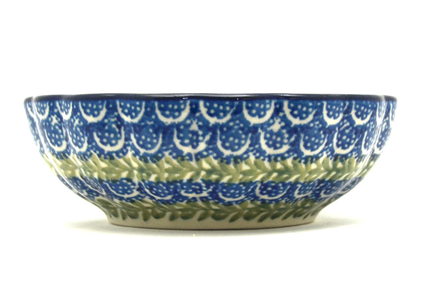 Polish Pottery Bowl - Shallow Scalloped - Small - Blue Bells Image a