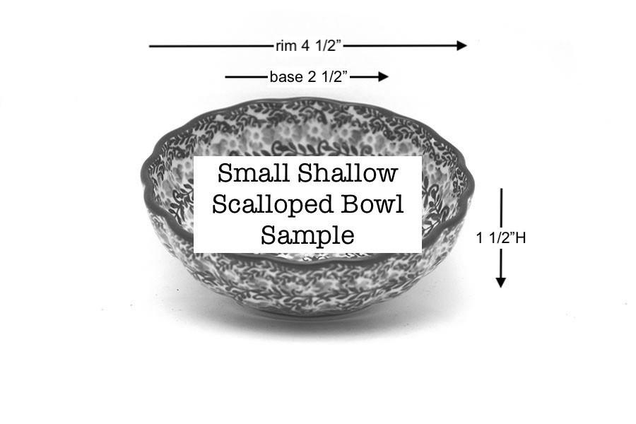 Polish Pottery Bowl - Shallow Scalloped - Small - Blue Chicory Image a