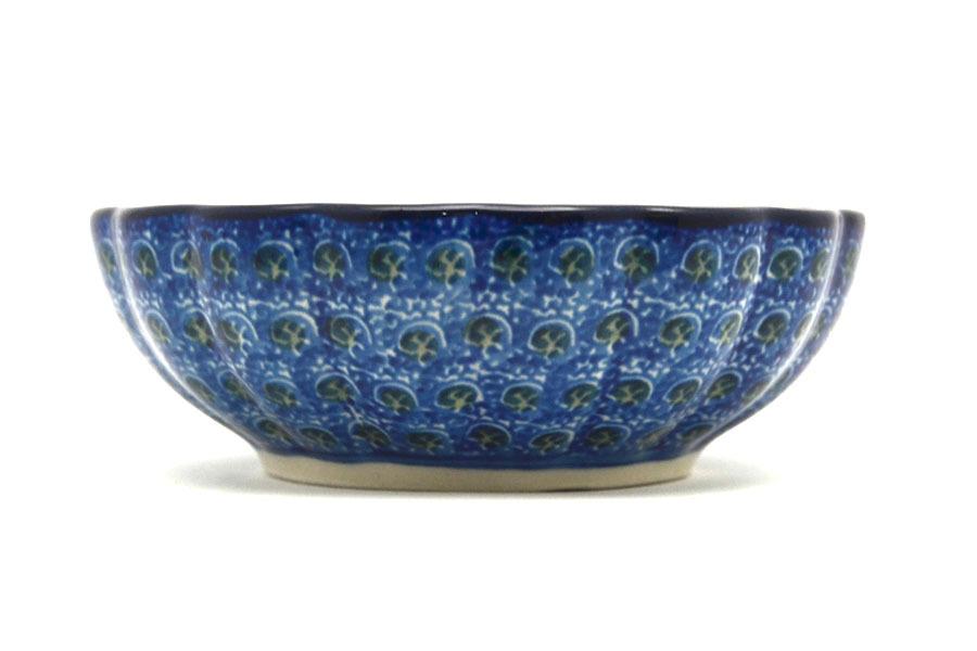 Polish Pottery Bowl - Shallow Scalloped - Small - Blue Poppy Image a