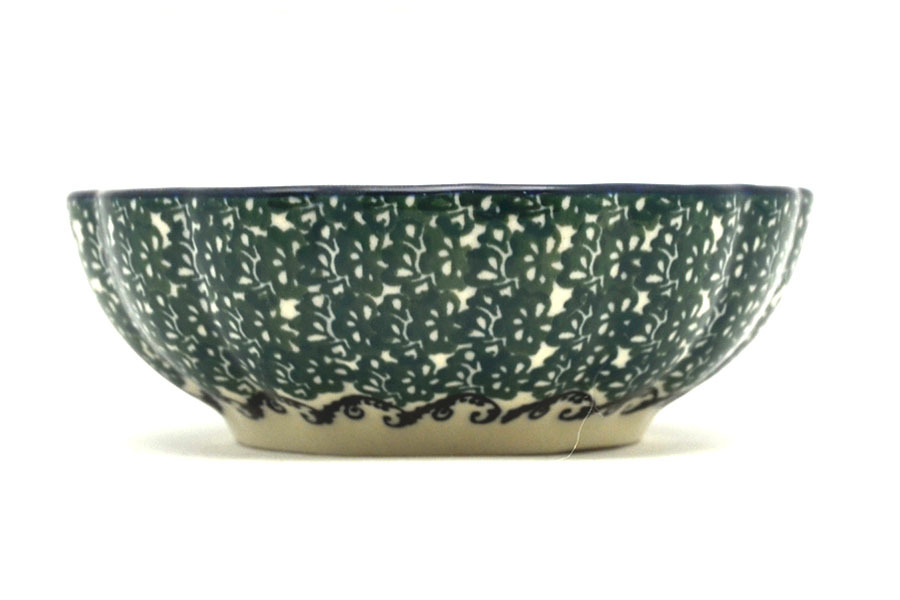 Polish Pottery Bowl - Shallow Scalloped - Small - Burgundy Berry Green Image a