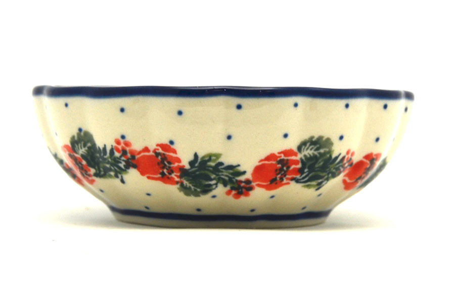 Polish Pottery Bowl - Shallow Scalloped - Small - Garden Party Image a