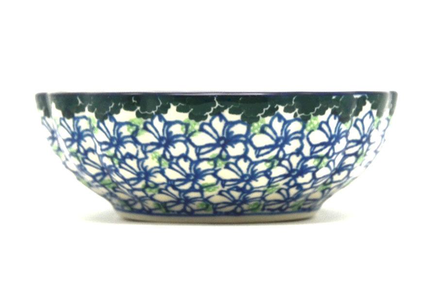 Polish Pottery Bowl - Shallow Scalloped - Small - Kiwi Image a