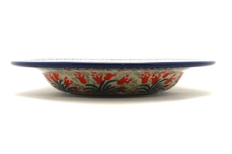Polish Pottery Bowl - Soup/Pasta - Crimson Bells Image a