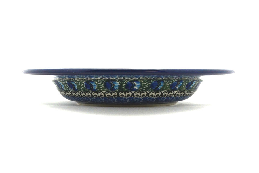 Polish Pottery Bowl - Soup/Pasta - Peacock Feather Image a
