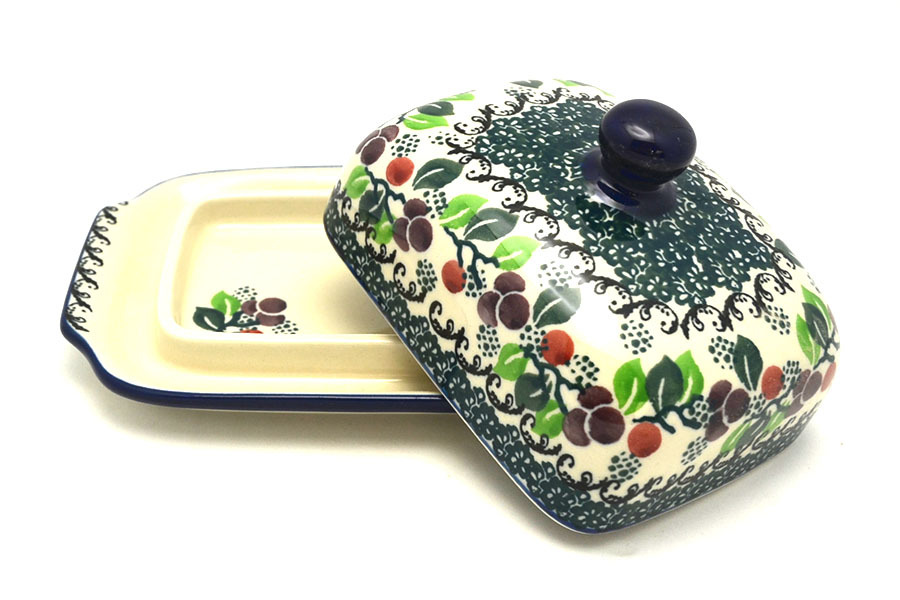 Polish Pottery Butter Dish - Burgundy Berry Green  Image a