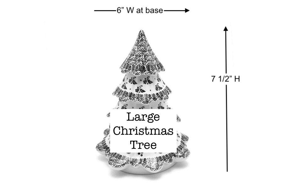 "Polish Pottery Christmas Tree - Large (7 1/2"") - Red Robin Image a"