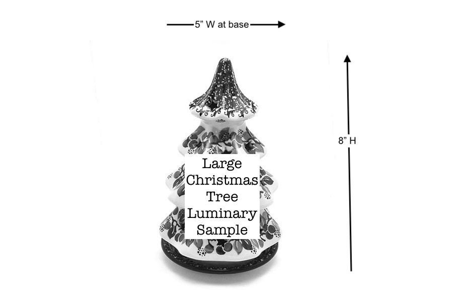 "Polish Pottery Christmas Tree Luminary - Large (8"") - Holly Berry Image a"