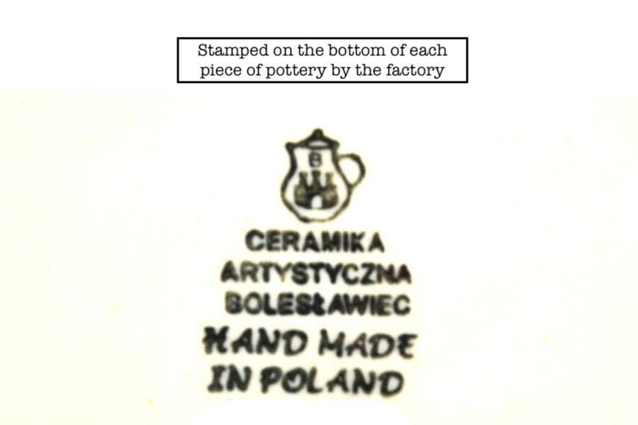 Polish Pottery Loop Handle Bowl - Peach Spring Daisy Image a