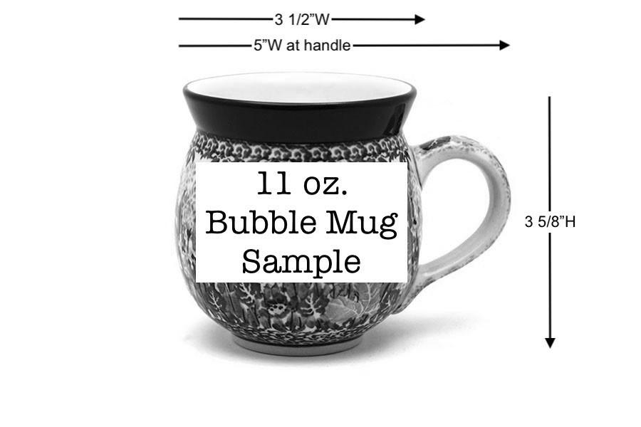 Polish Pottery Mug - 11 oz. Bubble - Peacock Image a