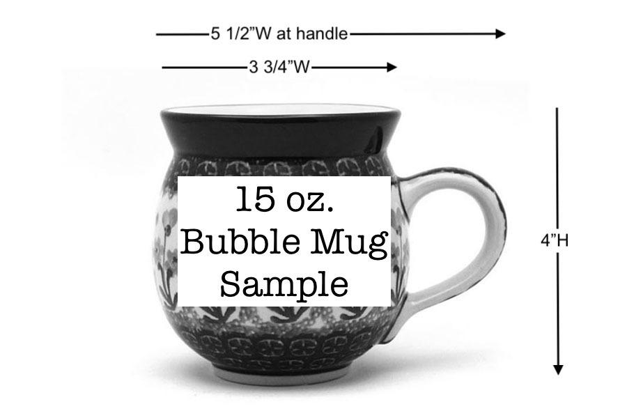 Polish Pottery Mug - 15 oz. Bubble - Bleeding Heart  Image a