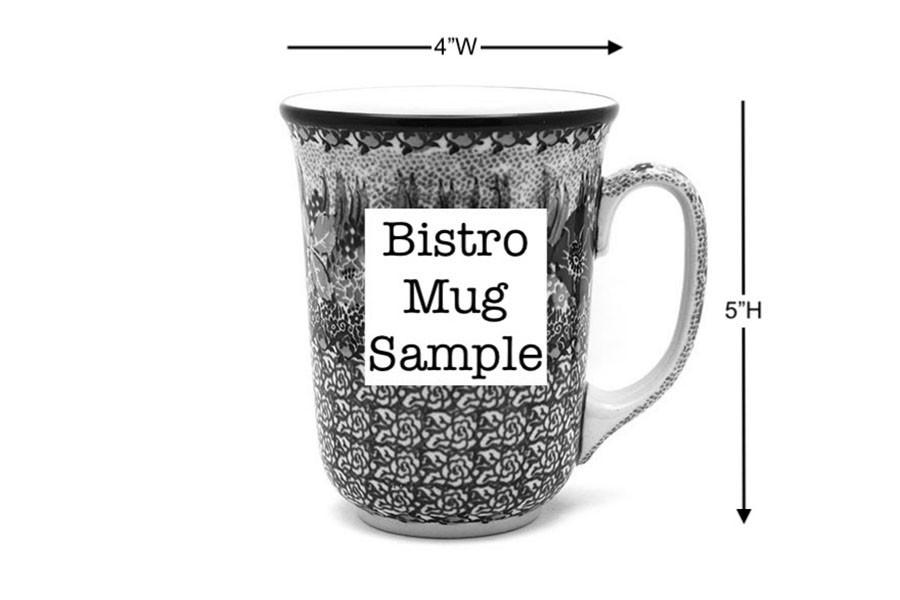 Polish Pottery Mug - 16 oz. Bistro - Blue Bells Image a