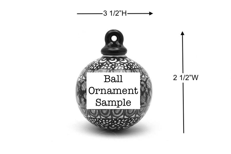 Polish Pottery Ornament - Ball - Holly Berry Image a