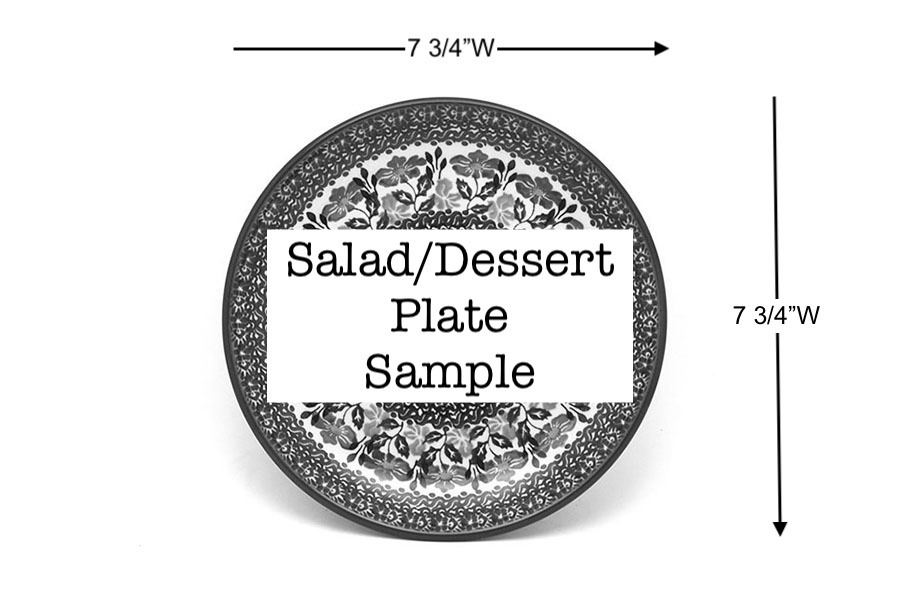 "Polish Pottery Plate - Salad/Dessert (7 3/4"") - Prancer Image a"