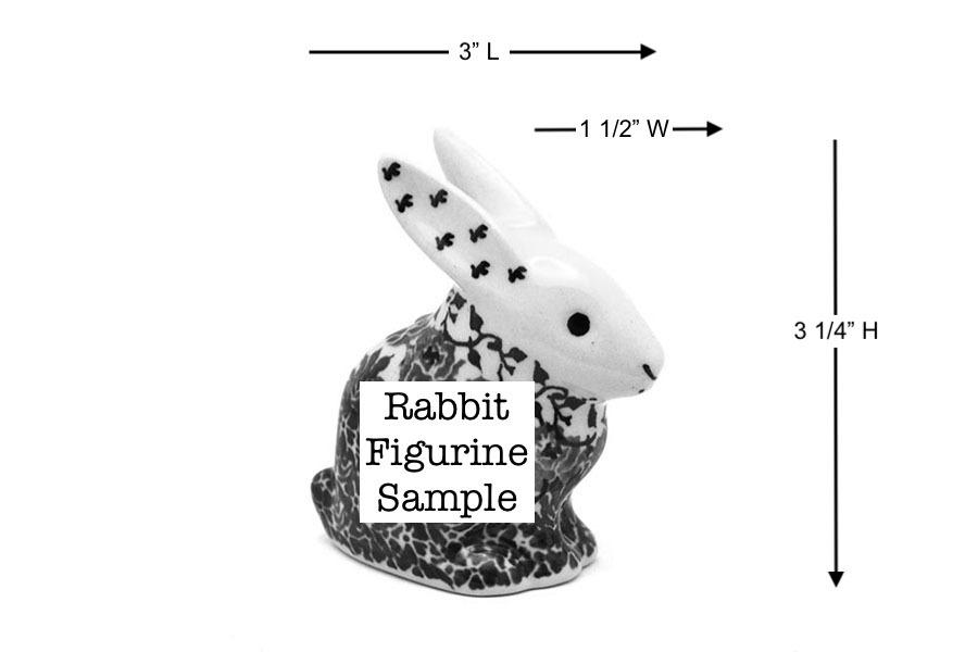 Polish Pottery Rabbit Figurine - Small - Blue Berries   Image a