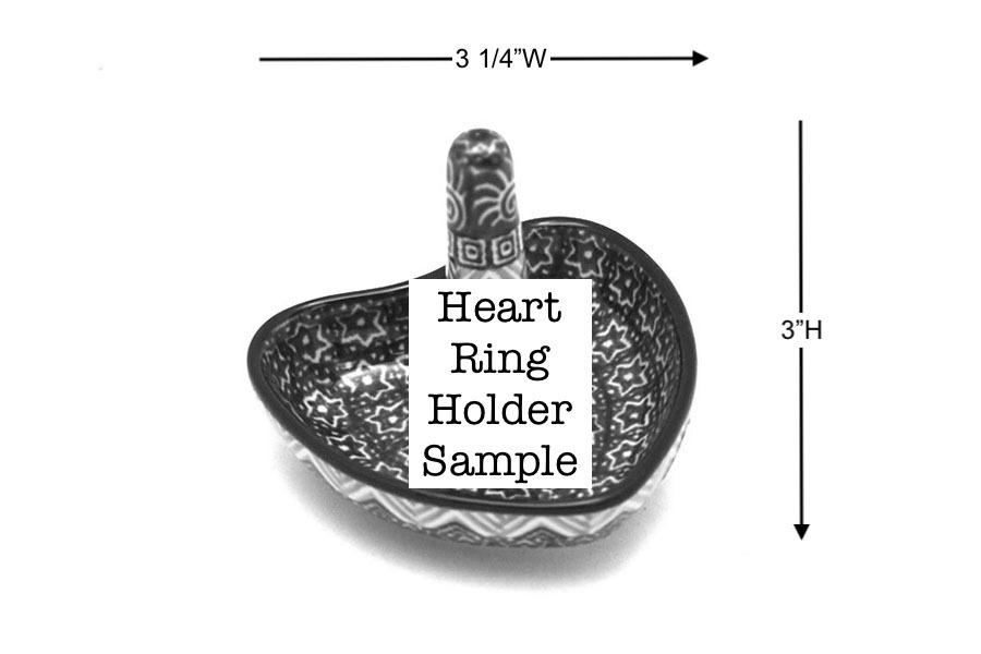 Polish Pottery Ring Holder - Bleeding Heart Image a