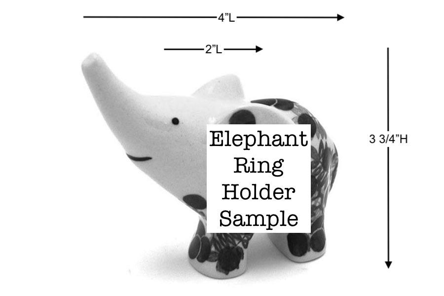Polish Pottery Ring Holder - Elephant - Spring Blossom Image a